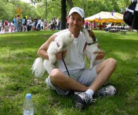 Dan with dogs at Aids Walk